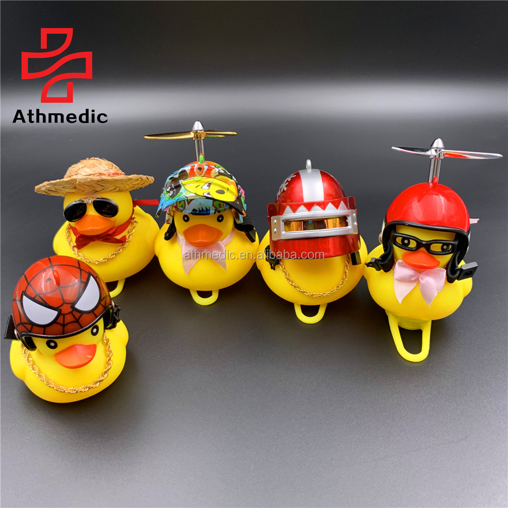 2020 Athmedic Motorcycle Bike Bell Broken Wind Duck Riding Light Cycling Accessories Small Yellow Duck Helmet Child Horn