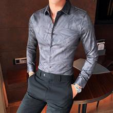 Мужские рубашки 2020 винтажные английские с цветочным принтом Мужские рубашки с длинным рукавом британский стиль мужская одежда модная Клуб...(Китай)