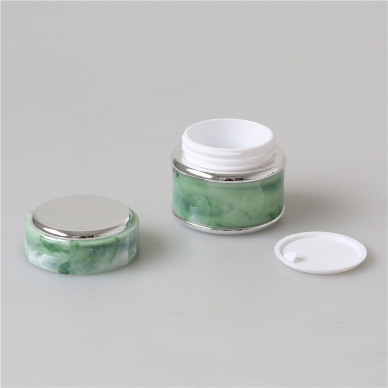 Free samples 5g 7g 15g 30g 50g green and marble empty cosmetic cream jar plastic