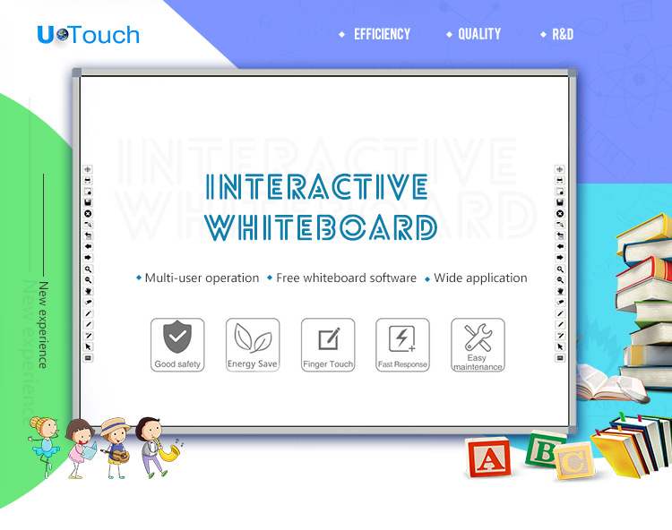 82~150 Inches Smart Whiteboard Interactive School Multi Language Touch Education Equipment