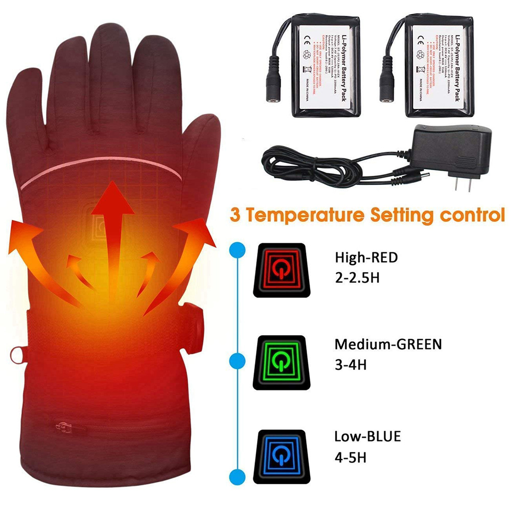 SUNMAS 7.4v lithium battery electric 2200mah rechargeable smart USB fishing winter ski heated gloves waterproof