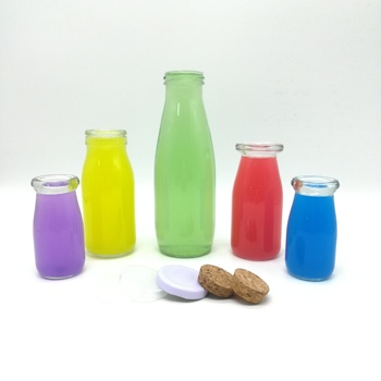 100ml-1000ml clear empty container milk juice glass pudding bottle with plastic cap wholesale