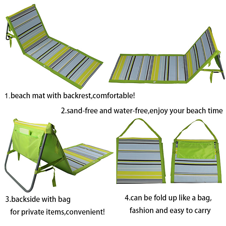 Beach Lounge Chair Waterproof Folding Camping Portable Backrest Beach Mat chair Outdoor Sand Free