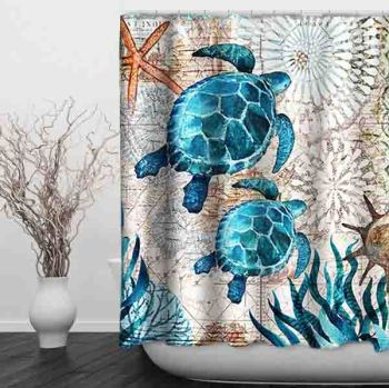 Polyester Nautical Green Octopus Sea Turtle Crab Digital Print Patterns Beach Theme Shower Curtain