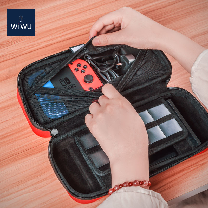 WiWU water resistant Polyester Hard EVA switch shell case big capacity anti-shock patent protective carrying case for switch