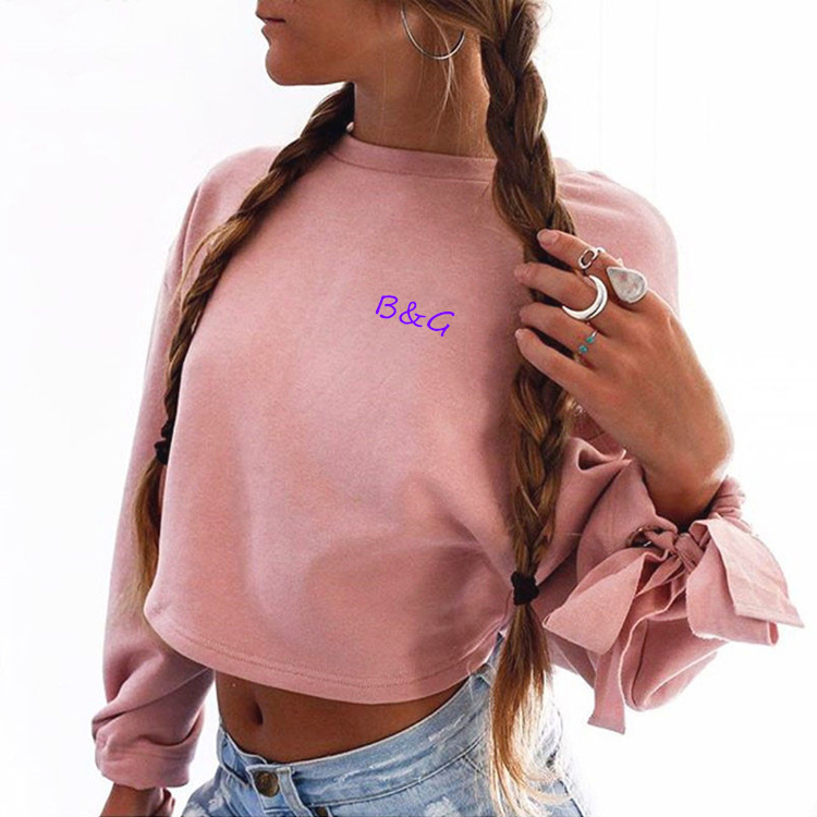 Custom lady long sleeve crop top hoodies sexy stylish girl hoodie sweatshirt