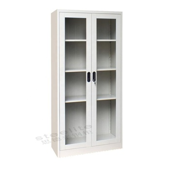 4 layer library goods display cupboard with glass sliding doors / vertical sliding glass door metal chemical storage cabinet