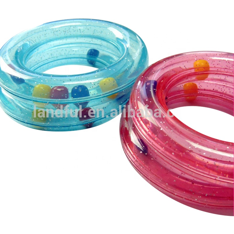 Plastic Baby Rattle Ring in Red Blue Clear Colorful Rainbow Beads Beans Baby Toy