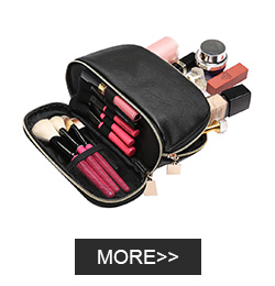 Best-Selling Luxury Vegan Leather Cosmetics Black Luxury The large capacity Gold Zipper Makeup Cosmetic Bag