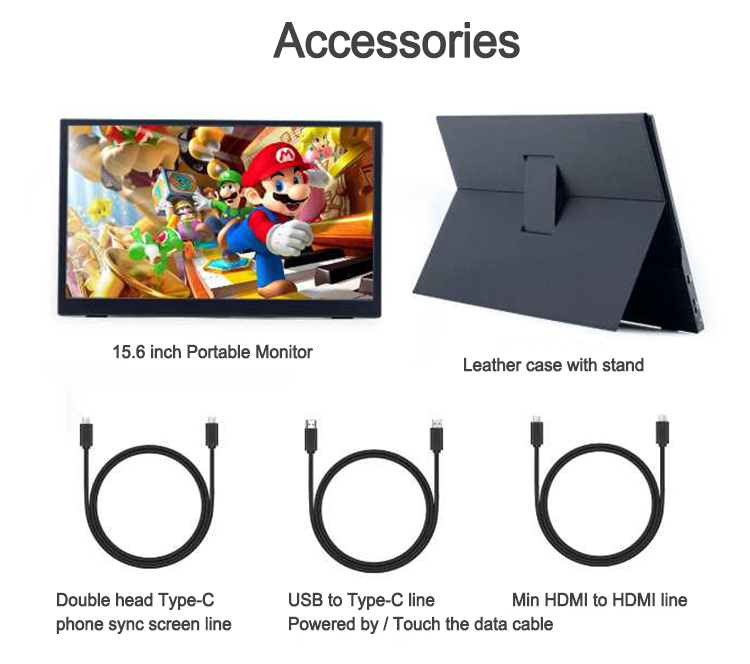 Thin Portable Touch Screen 4K Monitor 15.6 '' With USB Type C Hdmi  Portable Gaming Monitor for Laptop Phone Xbox Switch And PS4