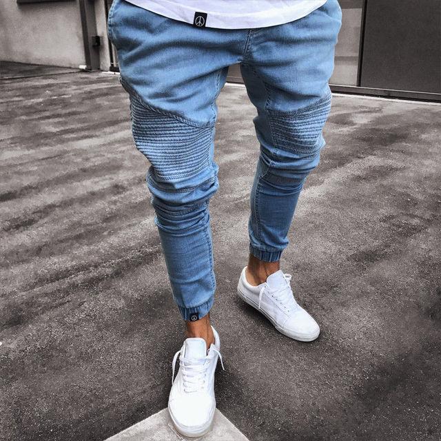 Men S Stretchy Ripped Skinny Biker Jeans Destroyed Slim Fit Denim Pants Mens Elastic Waist Harem Pants Men Jogger Clothes Buy Ripped Skinny Biker Jeans Denim Pants Mens Elastic Pants Mens Jeans Product On