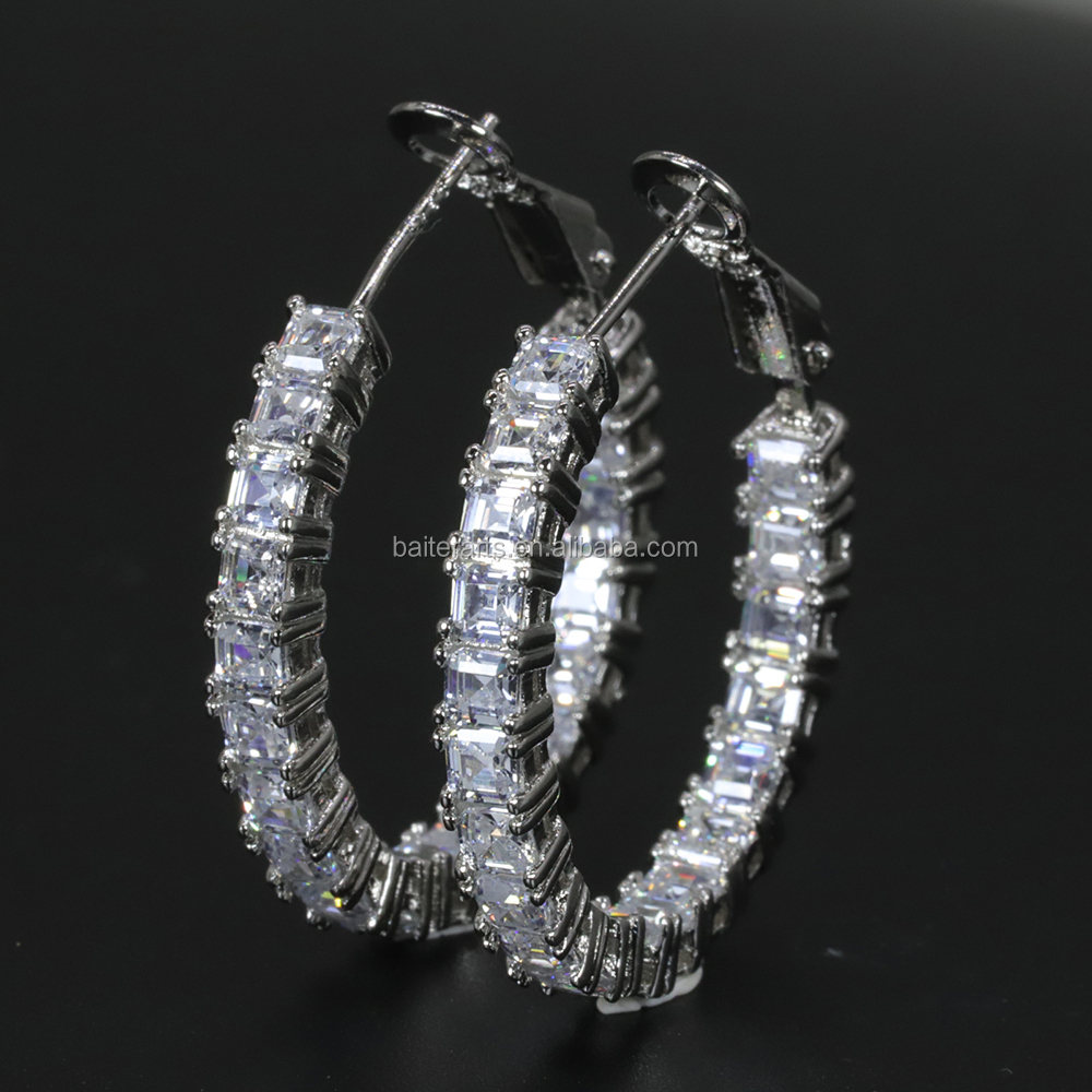 Rhodium Plated Inside Out 925 Sterling Silver CZ Cubic Zircon Emerald Cut Stone Full Pave Diamond Eternity Hoop Earring