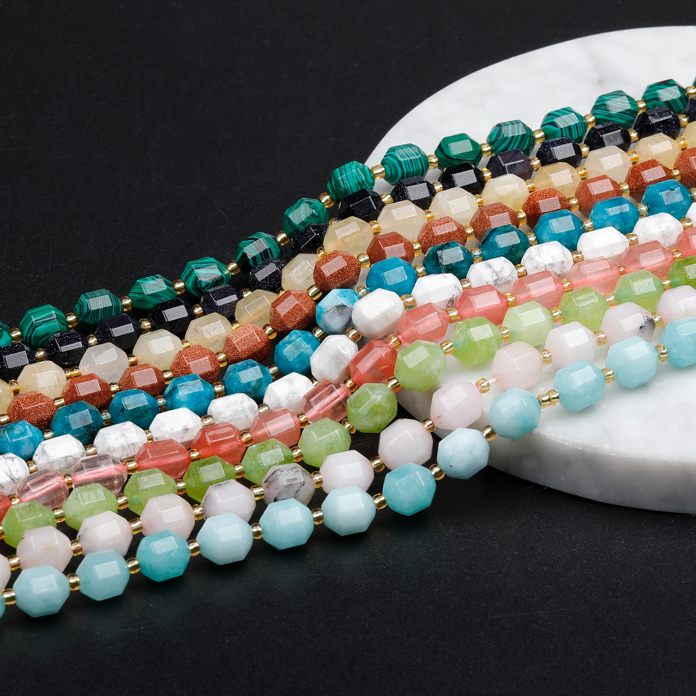 Natural Stone Loose Beads Malachite Onyx Agate Faceted Rose Quartz Gold Sand Gemstone Beads for Necklace Jewelry Making