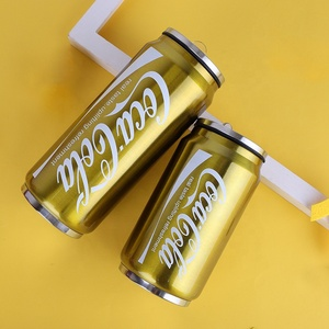 500ML Stainless Steel Coke cans tumbler Double Wall vacuum thermos cola water cans mug with lid and straw