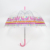2020 Factory customized POE transparent clear dome umbrella with pink alpaca printed edge