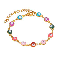 2019 latest hot selling fashion jewelry multy color 18k gold stainless steel evileye bracelet