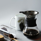 400ML Pour Over Drip Coffee Maker Hand Blown Glass With Paperless Filter and Carafe Pot