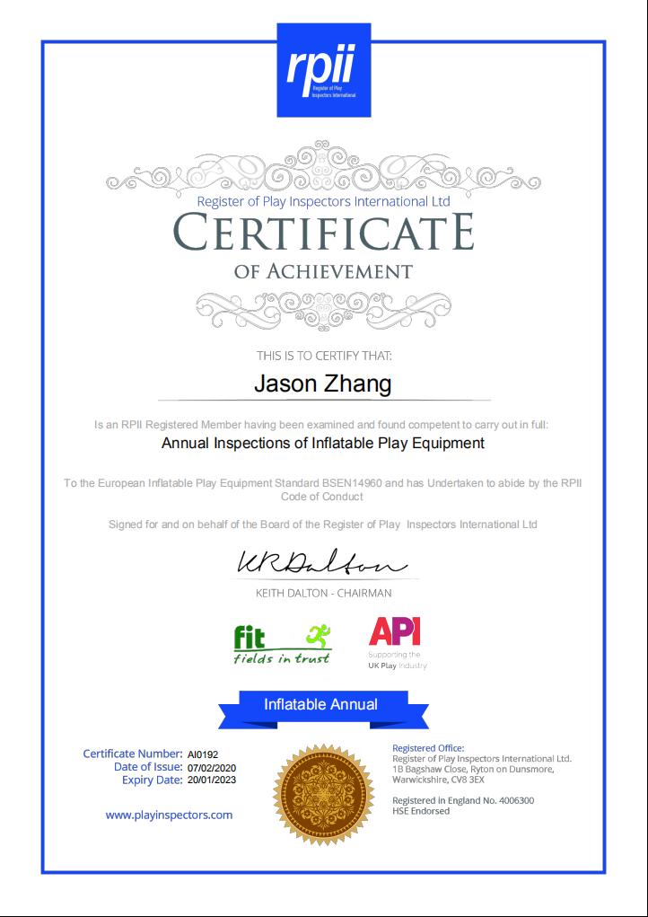 EN14960 certificate