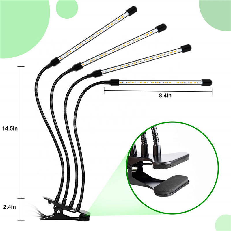 Greenhouse Factory Directly Sale 4 Heads Clip led grow plant light indoor plants growth led plant light