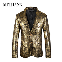 MEIJIANA Fashion Men Blazer Suits Gold Suit Performance Tuxedo Party Prom Wedding Costume Homme Slim Fit
