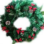 PVC double-layer Artificial Christmas Wreath Garland Mixed With Pine Needle and Red Berries Green leaves Pinecone and flowers