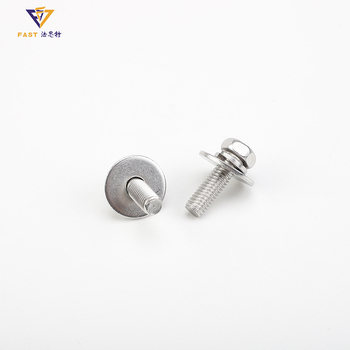 Custom bolt larger plain washer assemblies cross recessed hexagon bolt with indentation and single coil lock washer