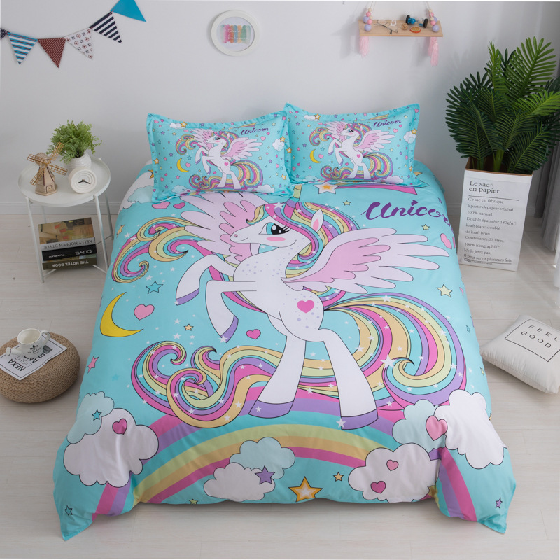 Custom Printed Twin Queen Watercolor Cotton Polyester Fabric Kids Girl Unicorn Comforter Bedding <strong>Set</strong>
