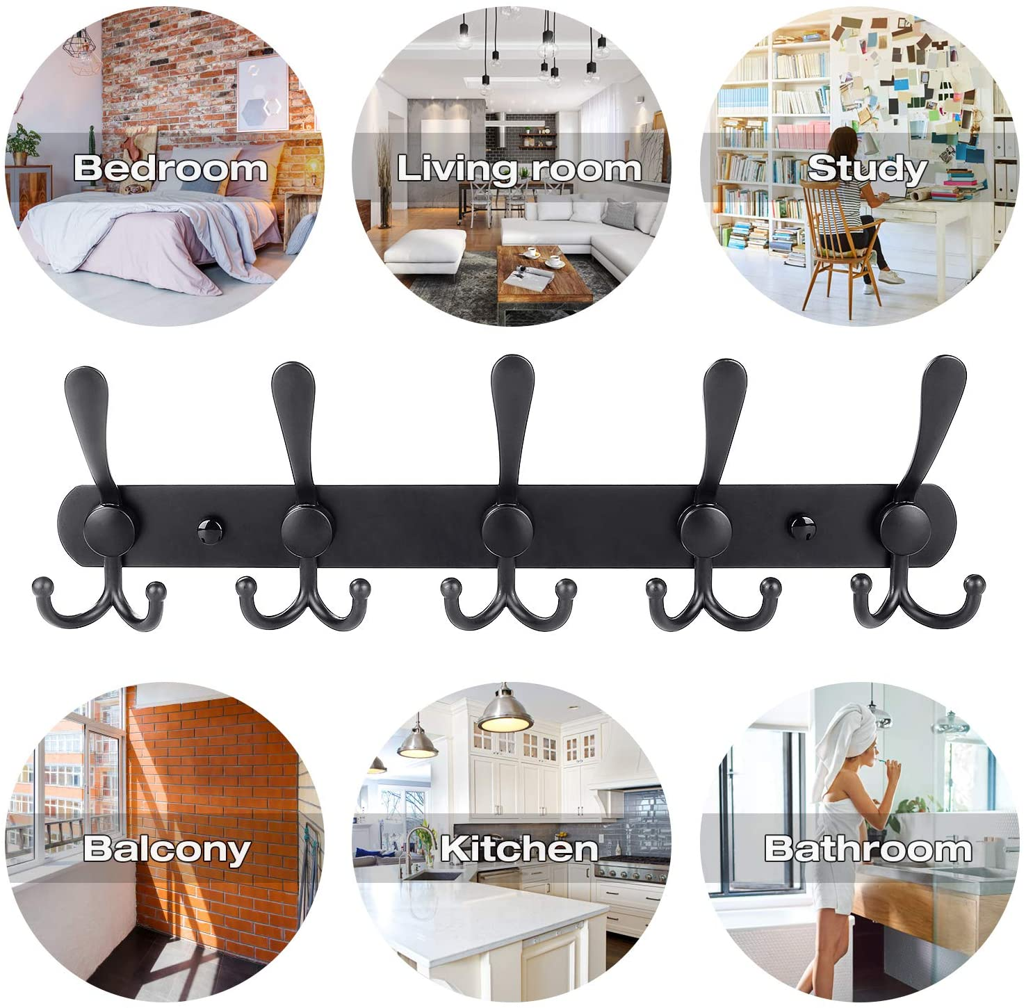 Wall Mounted Coat Rack Hooks With 5 Metal Double Hooks 16 Inch Matte Black Stainless Steel Hook Rail Organizer For Hanging