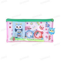 Custom School kids gift PVC animal cartoon Owl stationery pen bag set