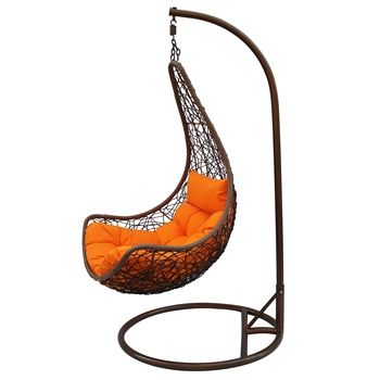 High Quality Outdoor Moon Shape Balcony Wicker Rattan Hanging Swing