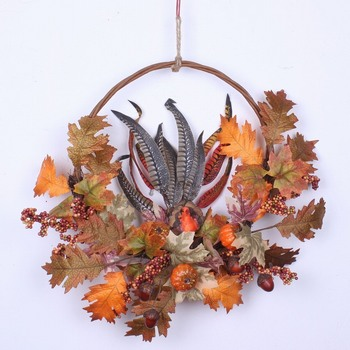 artificial autumn leaves wreath for decoration