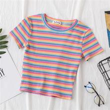 Летняя футболка в радужную полоску, женские топы, облегающая футболка Harajuku, женская футболка с коротким рукавом 2020, Корейская футболка, одеж...(Китай)