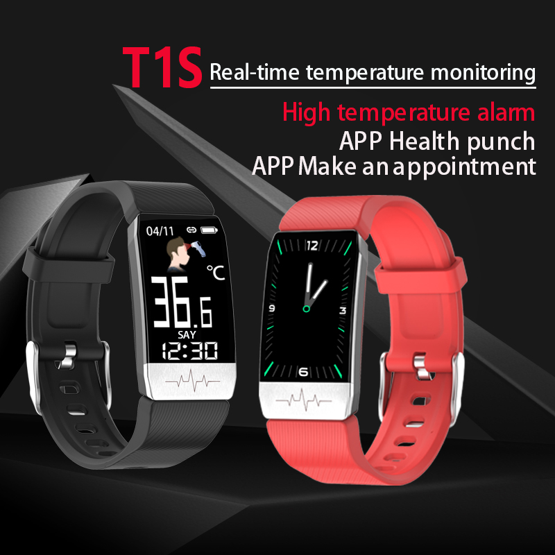 T1S ECGและวัดอุณหภูมิสมาร์ทสร้อยข้อมือ