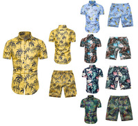 wholesale custom summer new Hawaiian beach style short sleeve sets mens flower print shirts and shorts sets