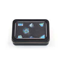 Wholesale Black Rectangle Dice Gift Metal Tin Box With Pvc Window