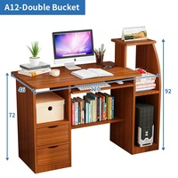 adjustable computer desk wood PC rectangular wood table laptop desk with drawers
