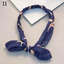 Женский винтажный ободок с заячьими ушами, растягивающийся ободок с узелком и бантом, аксессуар для волос с заячьими ушками(Китай)