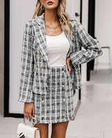 Chic office ladies Tweed Blazer and Plaid Skirt Two-pieces Blazer Suit Women
