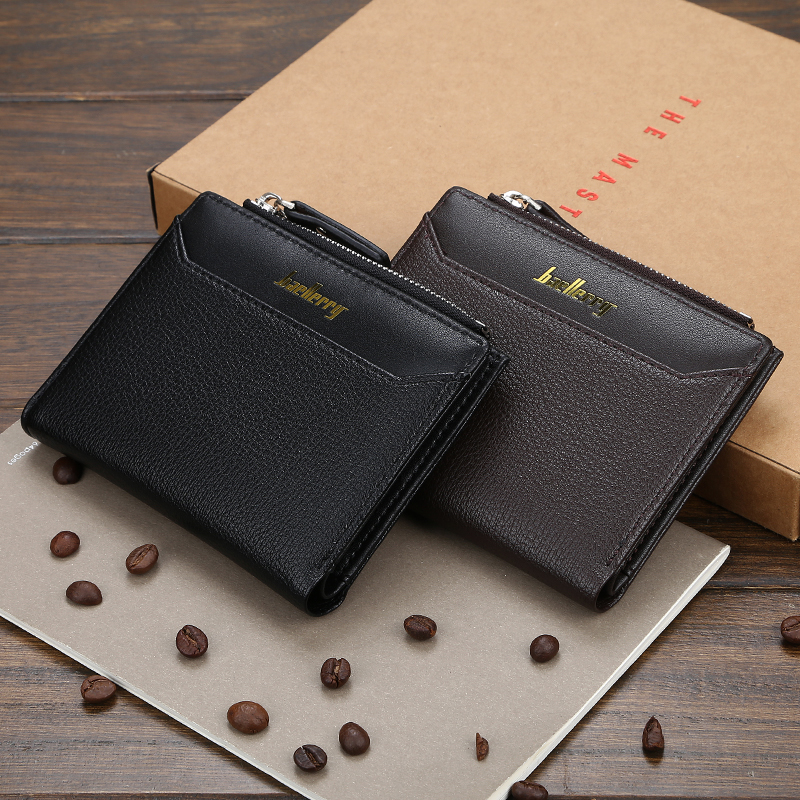 Baellerry New Style PU Leather Short Section Wallet For Men With Hasp,Male Zipper Coin Purse