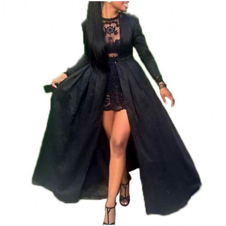 2019 Dropshipping Clothing Long Sleeve Black Dress Plus Size Evening Dresses