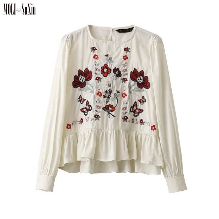 MOLI 2019 White <strong>Cotton</strong> Long Sleeve Floral Embroidery Fashion Design <strong>Lady</strong> <strong>Blouse</strong>
