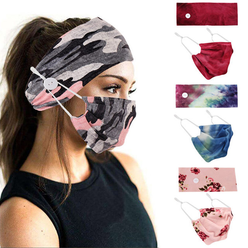 New Style Sports <strong>Headbands</strong> With Button and Face Cover Set for Women Girls,Protect From Earache