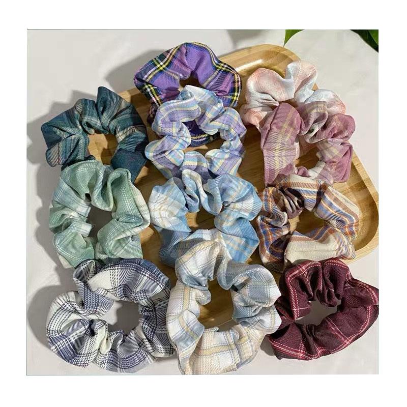 Полосатая решетка эластичные волосы шифон резинки Галстуки Веревки аксессуары для волос для женщин и девочек