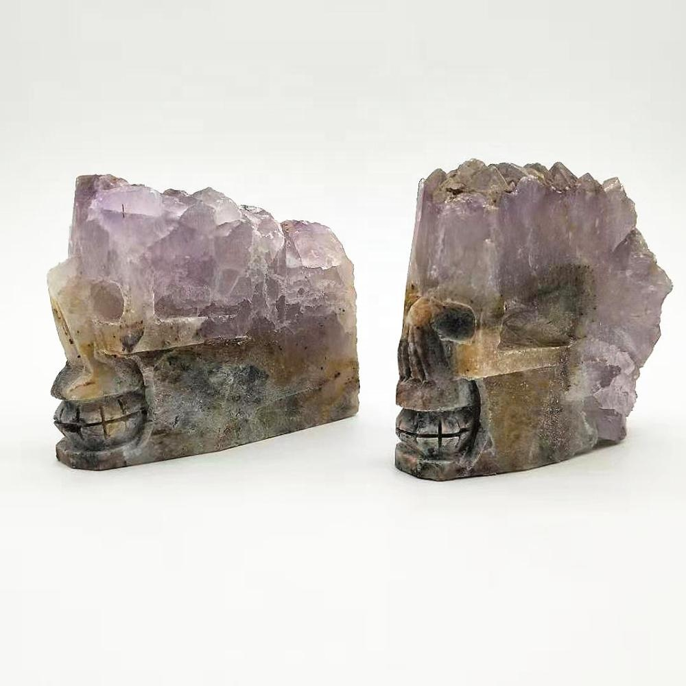 Natural amethyst clusters carved crystal skulls for holiday decorations