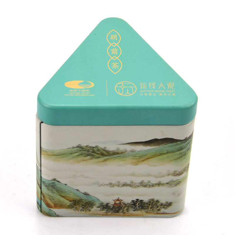 Factory Supply Small Triangle Shape Printed Coffee Candy Metal Tin Box Airtight Tea Tin Can