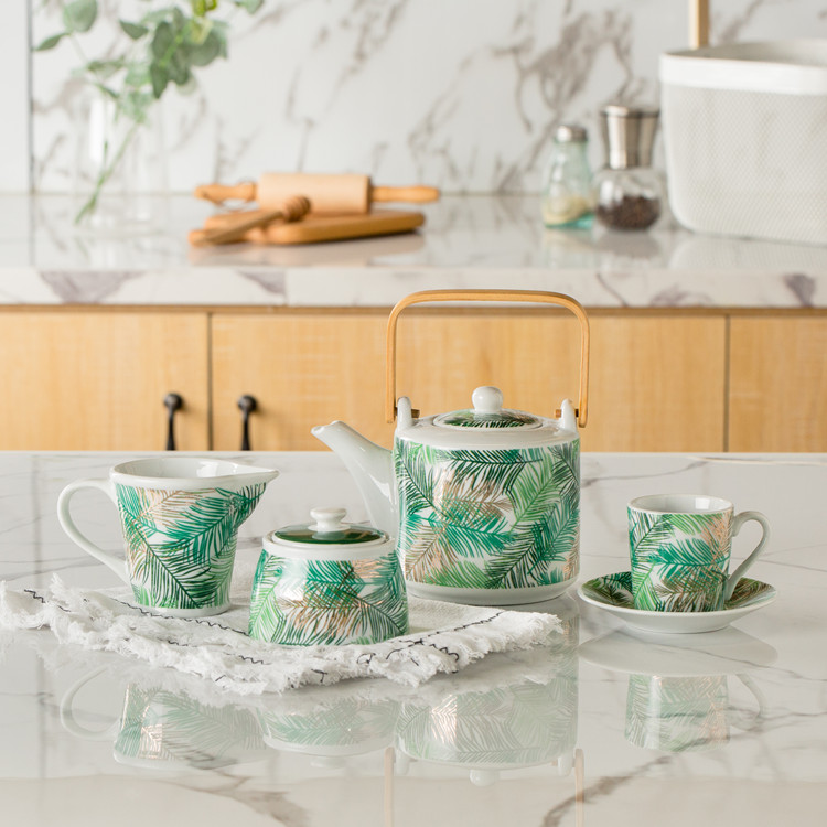 Fancy green flora decal custom cheap restaurant coffee house <strong>tea</strong> <strong>set</strong> <strong>porcelain</strong> with teapot