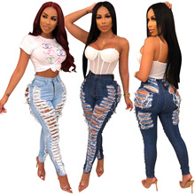 Kustom Baru Fashion Wanita Boyfriend Jeans Distressed Slim Fit Ripped Pants Nyaman Peregangan <span class=keywords><strong>Skinny</strong></span> Jeans