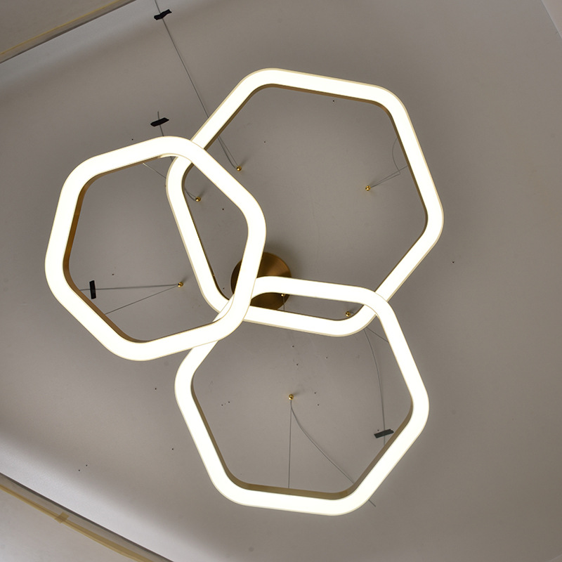 Artdecolite Stainless steel golden brass hexagon LED pendant project light fixtures for dinning room