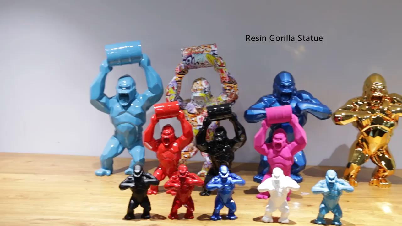 Dekorasyon sanat fiberglas heykeller heykeli Gorilla reçine heykel