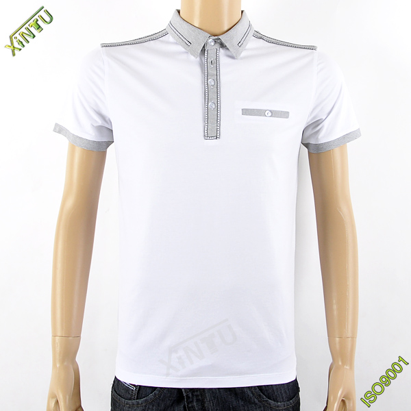 Autumn long sleeve T-shirt up and  down polo shirt lose and soft cotton material for  men